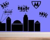 wall decal kids - Super Hero city comic themed child room decor