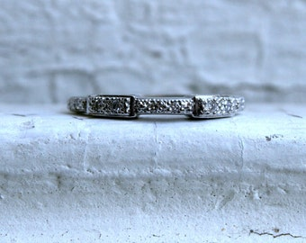 Beautiful Vintage Pave Diamond Wedding Band in 18K White Gold by Charriol.