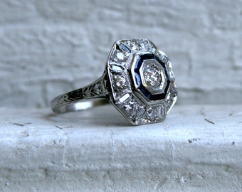 Antique Platinum Diamond and and Sapphire Cluster Ring - 1.55ct.