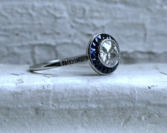 RESERVED - Vintage Art Deco Platinum Diamond and Sapphire Engagement Ring - 1.61ct.