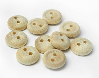 "25 Tiny Wood Buttons, 1/2"" Wide, 12mm - Natural Wood Buttons, Made in USA, (#5120)"