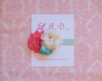 Coral cream and aqua headband/ Newborn headband/ baby headband