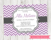 Printable Baby Shower Invitation - Chevron Shower Themed Invite - Colors and Text Customizable