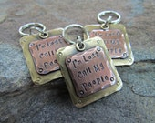 Pet Tag - Pet ID Tag - Mixed Metal Copper and Brass -  Hand stamped and Engraved