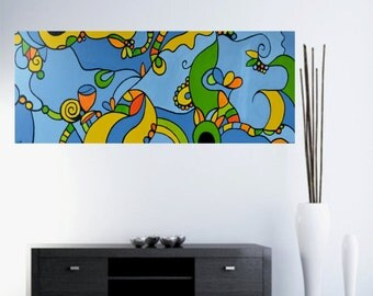 "Colorful Original Abstract Painting  Modern Art Acrylic Painting Large painting Handmade by Carola, 60""x20"""