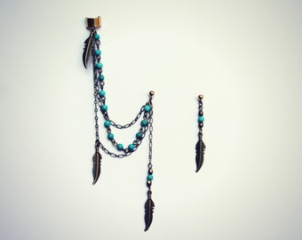 feather ear cuff turquoise earrings, ear cuff with chains, tribal ear cuff, feather ear cuff, turquoise earrings