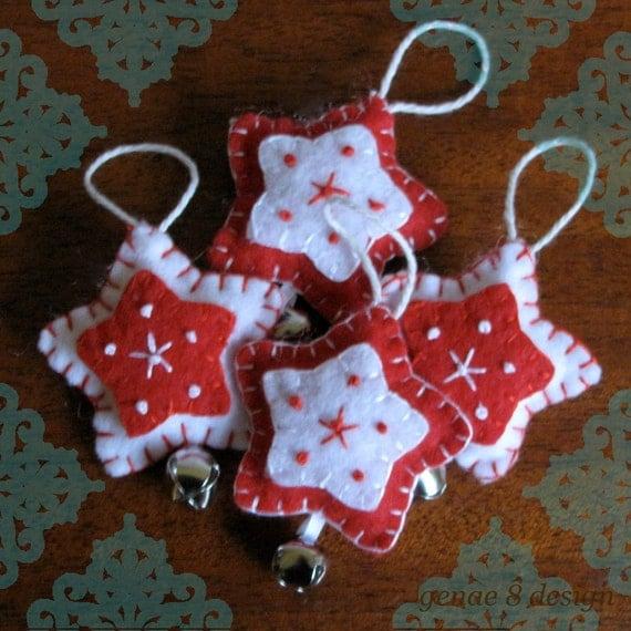 Homemade Christmas Star Ornament: Handmade Red Felt Star Christmas Ornament Set