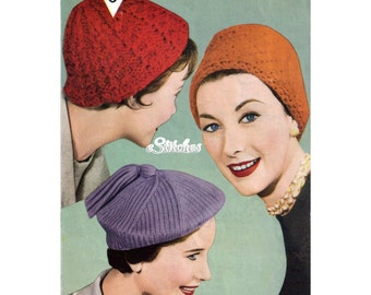 Beret, Cossack and Ribbed Hats - 3 Knit patterns PDF 0304
