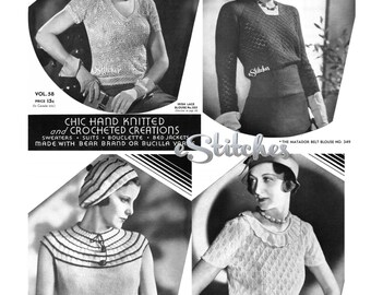 1930s ebooklet Chic Hand Knitted and Crochet Creations by Bear Brand or Bucilla, Volume 58 - 18 patterns PDF 5800
