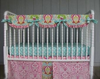 Crib Bedding Kumari Gardens Bumperless Shabby Chic Lolas Lovies handmade baby bedding