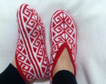 FREE SHIPPING - Hand Knitting Home Slippers / Handmade Red White Color Socks / Handmade Knit Woman Slippers 39 - 40