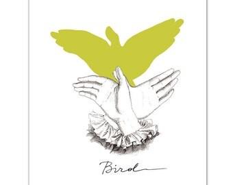 BIRD - Hand Shadow - Mixed media Decorative art Animal painting drawing illustration portrait  print POSTER 8x10