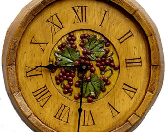 Wine Decor Barrel Wall Clock
