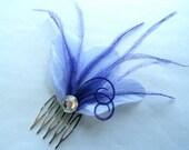 CHERI Lavender and Purple Feather Hair Comb, Purple Bridal Hair Comb