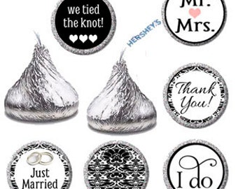 Wedding Candy Sticker Labels, Printable Hershey Kiss Label, Black and White Kisses Favors (009)