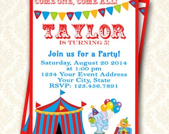 Circus Party Invitation, Printable Custom Big Top Carnival Birthday Party Invitation, Personalized Circus Baby Shower Invite, DIY Invitation
