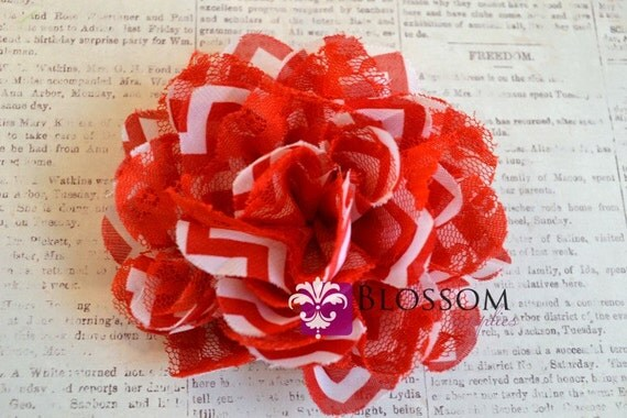 The Chevron Charlotte Collection - Red CHEVRON Shabby Chiffon and Lace Puff Flowers - Red & White - 3.5 Inches Flower Blossom Supplies