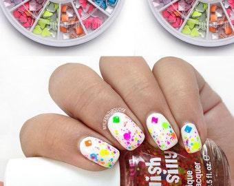 Nails Art Neon Color Rivet Tips Studs Decoration