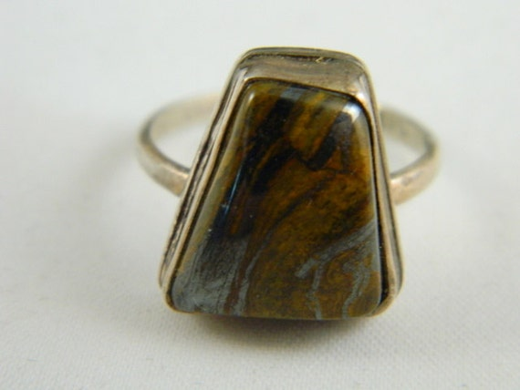 tigers eye silver ring vintage sterling by