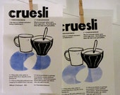 Hand printed Cereal recipe, Lino cut and hand printend text