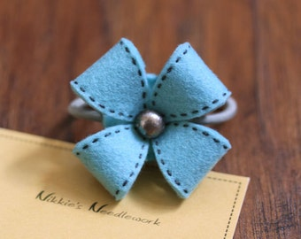 Nikkie's Felt Flower Ponytail Holder-Bluish Teal