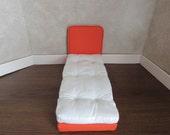 Doll Bed for 11 1/2 inch dolls Orange Mattress