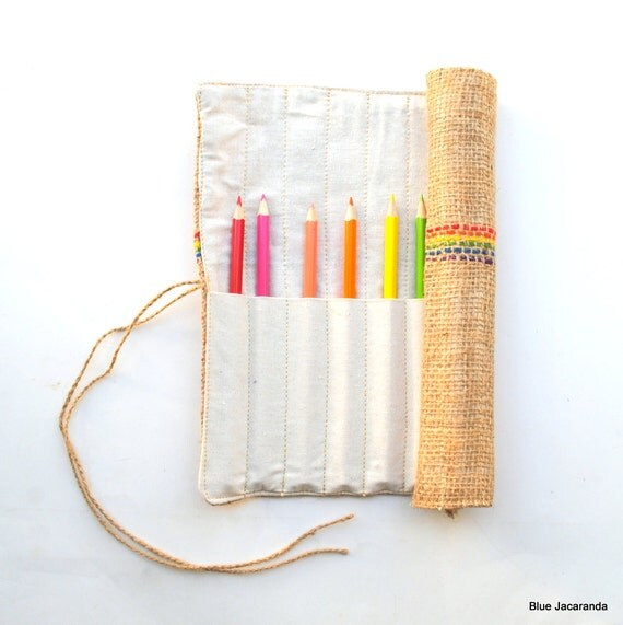 Burlap Pencil Roll - Holds 12 Pencils / Crayons / Brushes / Pens / Hooks