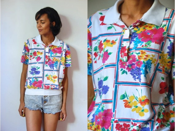 Vtg Colorful Floral Printed SS Button Down Polo Shirt