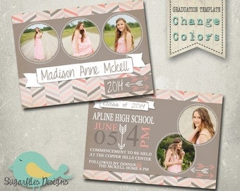 Graduation Announcement PHOTOSHOP TEMPLATE -  Senior Graduation 26