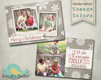 Christmas Card PHOTOSHOP TEMPLATE - Family Christmas Card 63