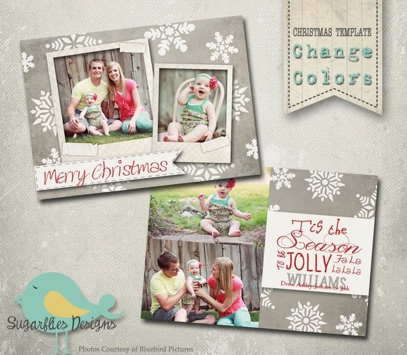 Christmas Card PHOTOSHOP TEMPLATE - Family Christmas Card 63