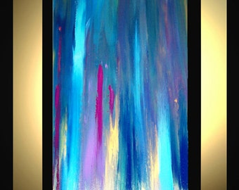 """Original Large Abstract Painting Modern Contemporary Canvas Art Blue Gold Purple BLUE SYMMETRY  36""""x24"""" Palette Knife Texture Oil J.LEIGH"""