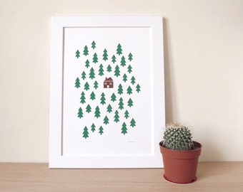 Tree poster, woodland wall art print, nursery art, kids bedroom,illustration print, House In The Woods A3 Screenprint by hello DODO
