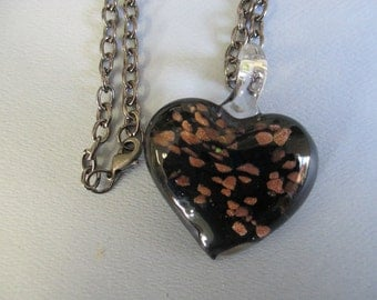 Handmade black glass heart with copper flakes pendant necklace with silver tone chain and lobster clasp closure