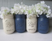 Painted and Distressed Ball Mason Jars- Navy Blue and Cream-Set of 4-Flower Vases, Rustic Wedding, Centerpieces