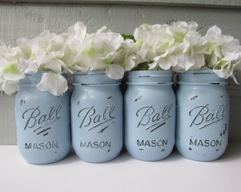 Painted and Distressed Ball Mason Jars- Pale/Pastel Blue -Set of 4-Flower Vases, Rustic Wedding, Centerpieces