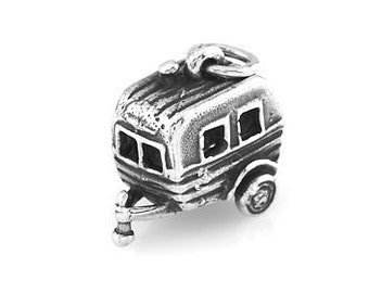 Sterling Silver RV Hitched Vacation Camper Trailer Charm (3d Charm)