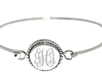 Sterling Silver Monogrammable Engravable Flat Round Rope Edge Bangle Wire Bracelet