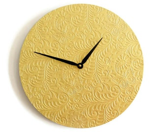 Unique Wall Clock, Gold Clock, Embossed Butterfly Decor, Home and Living, Decor & Housewares, Living Room Decor, Unique Gift