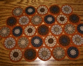 primitive fall hand stitched penny rug mat