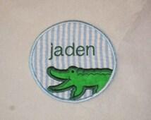 SAMPLE SALE blue seersucker alligator patch