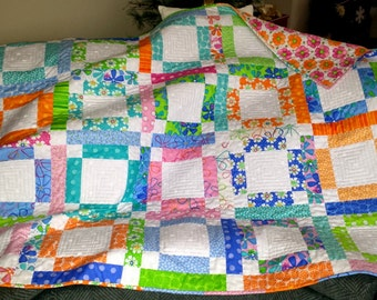 QUILTS for sale homemade BED BLANKET, Bed cover, Lap quilt, girls, tweens, teens, graduation gift