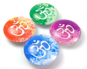 Om Watercolor Glass Fridge Magnet Set of 4 Rainbow Splash