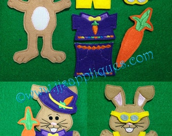 In the Hoop Un Paper Doll Boy Bunny Embroidery Design with Accessories, Set of 7 designs - 4x4, 5x7, and 6x10 hoops -Instant Download