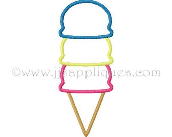 Instant Download - Birthday Embroidery Applique Design Ice Cream Cone Embroidery Applique Design - Triple Scoop 4x4, 5x7, 6x10 hoops