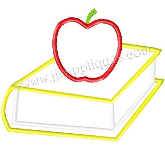 Instant Download - School Embroidery Applique Designs - School Book with Apple applique embroidery design 4x4, 5x7, 6x10 hoops
