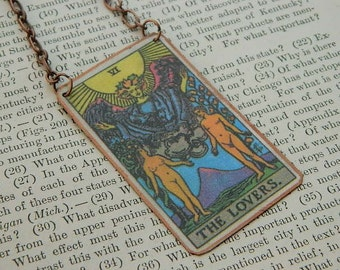 Tarot necklace tarot jewelry The Lovers  mixed media jewelry supernatural