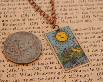 Tarot pendant tarot jewelry The Moon minimalist jewelry mixed media jewelry supernatural