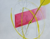 Abstract Gray, Pink, Lime Green, Original Painting, Gouache and Watercolor on Paper