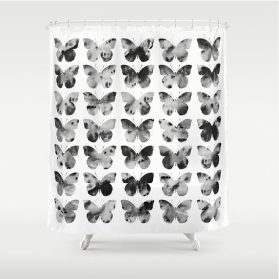 Curtains Ideas butterfly shower curtain : Items similar to Butterfly shower curtain in black white and grey ...